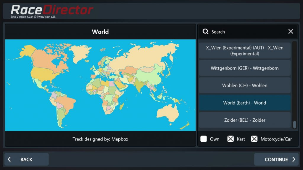 Mapbox in RaceDirector Track Selection World